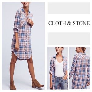 Anthropologie Cloth & Stone frayed plaid dress XS